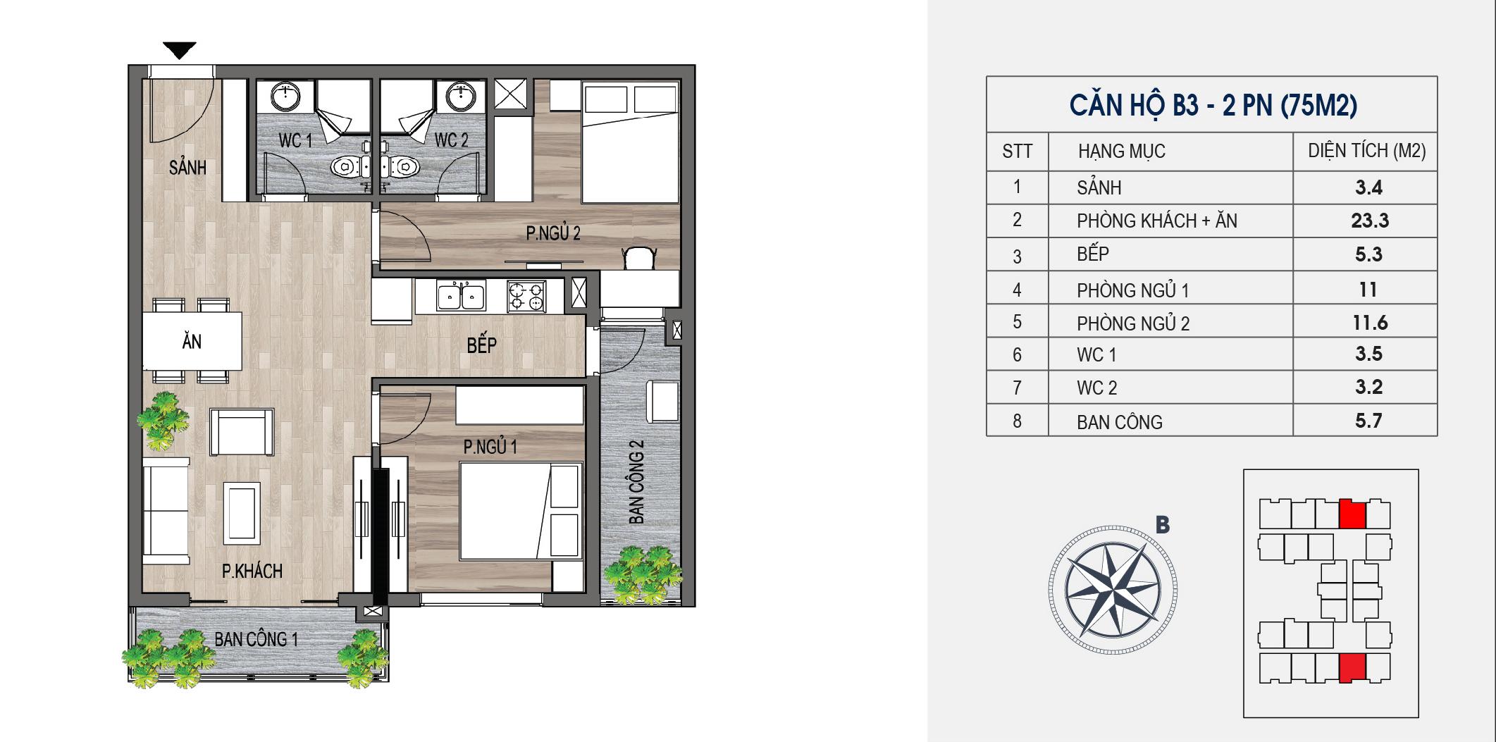 thiết kế chung cư lotus central căn hộ b3