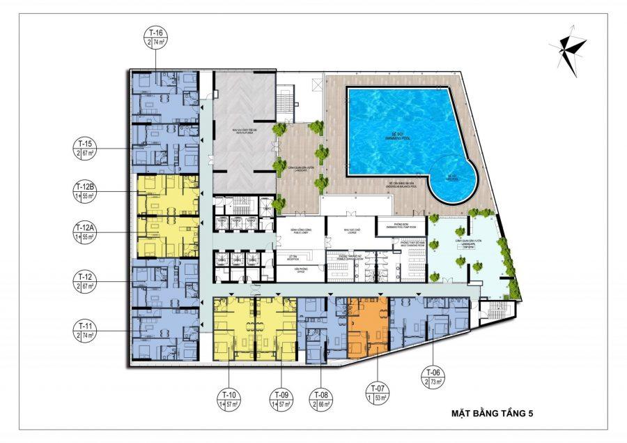 Mặt bằng tầng 5 dự án chung cư Dabaco Park View Huyền Quang