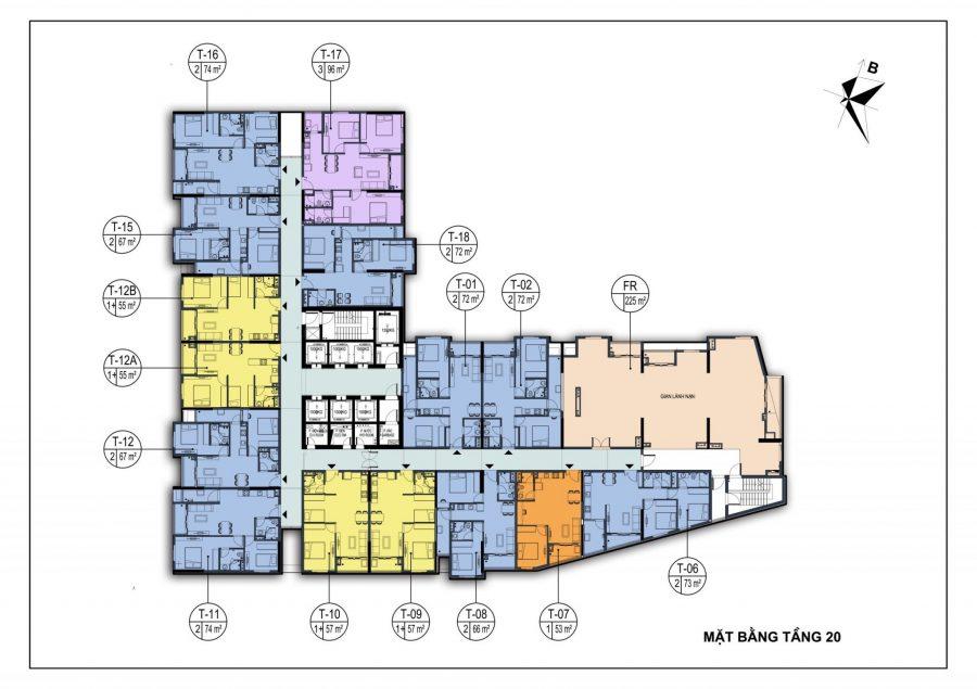 Mặt bằng tầng 20 dự án chung cư Dabaco Park View Huyền Quang